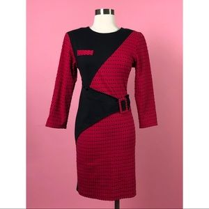 Vintage 1970s red black color block dress M
